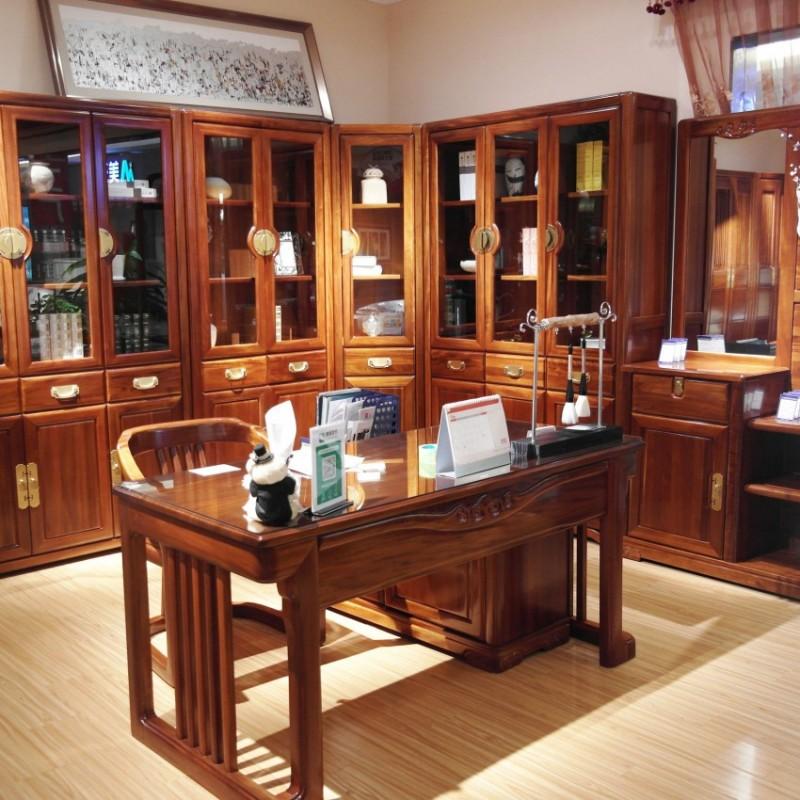喜之林檀韵实木家具书房套书桌书椅转角书柜