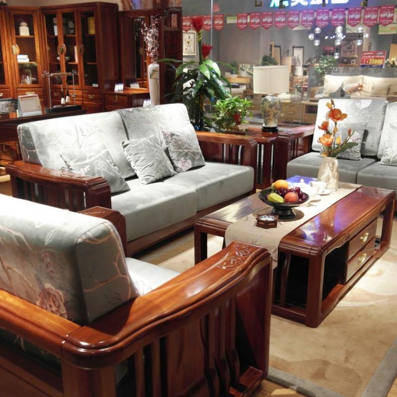喜之林檀韵现代实木家具客厅沙发组合茶几