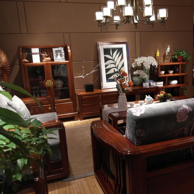 喜之林檀韵现代实木家具客厅电视柜组合柜边柜