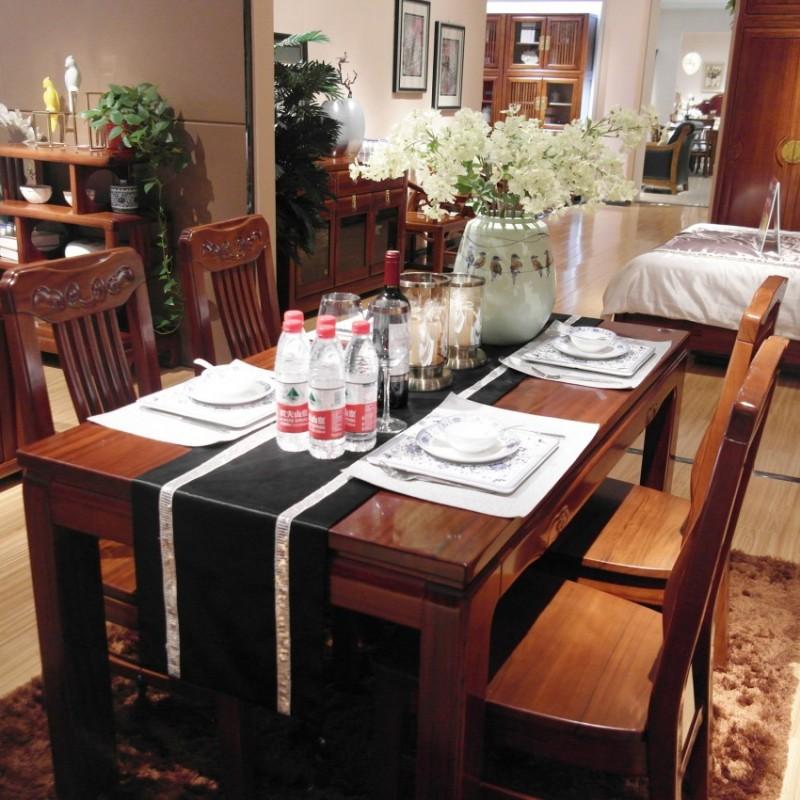 喜之林檀韵实木家具餐厅长餐台餐椅1