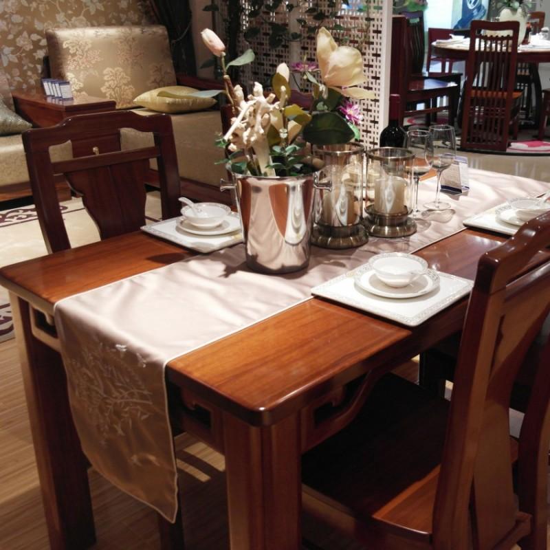 喜之林檀韵实木家具餐厅长餐台餐椅2