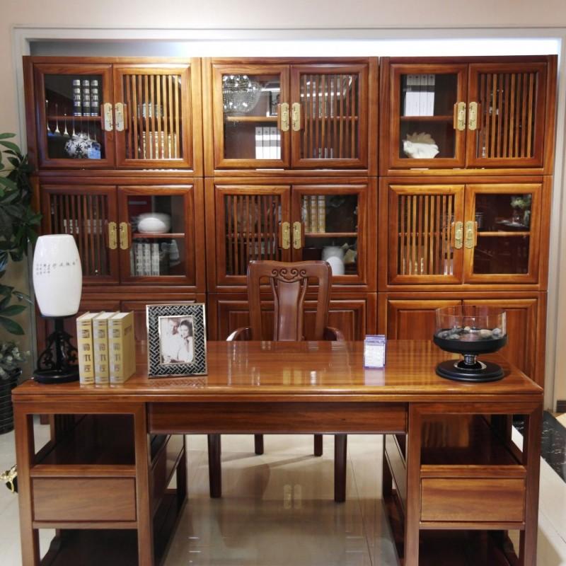 喜之林檀韵实木家具书房套书桌书椅组合书柜