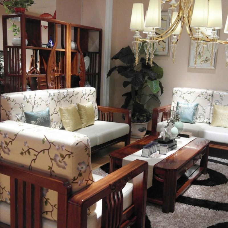 喜之林檀韵现代实木家具客厅沙发组合茶几1