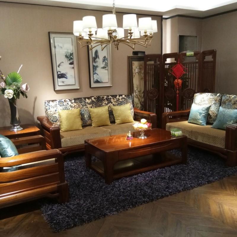 喜之林檀韵现代实木家具客厅沙发组合茶几4