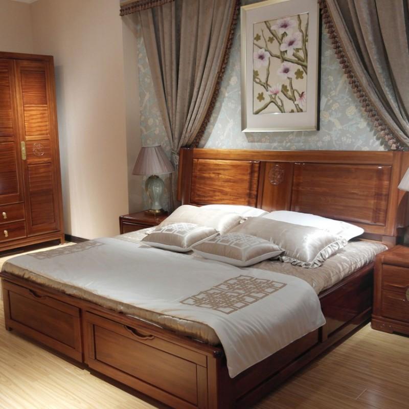 喜之林檀韵现代实木家具卧室实木大床床头柜衣柜