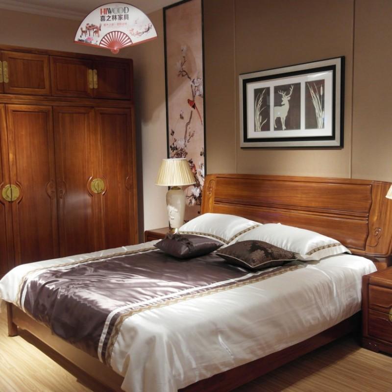 喜之林檀韵现代实木家具卧室实木大床床头柜衣柜带顶柜