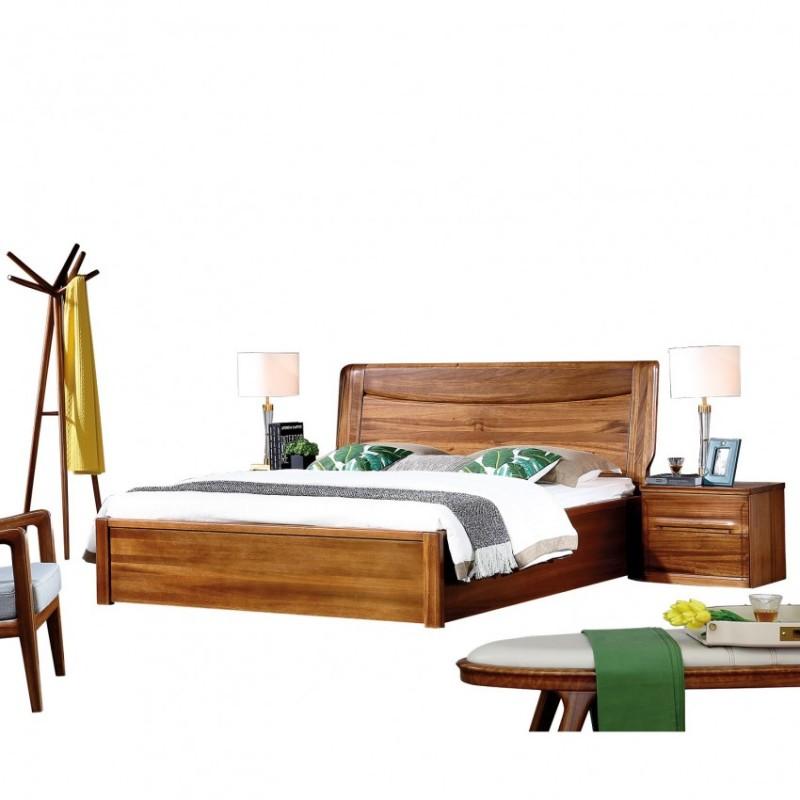 新桂铭悦池现代实木家具卧室实木大床床头柜YCA04+床尾凳YCA01+YCE01衣帽架