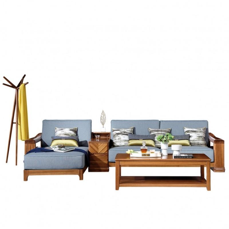 新桂铭悦池现代实木家具客厅YCB02沙发 (1) 木头+YCB02茶几