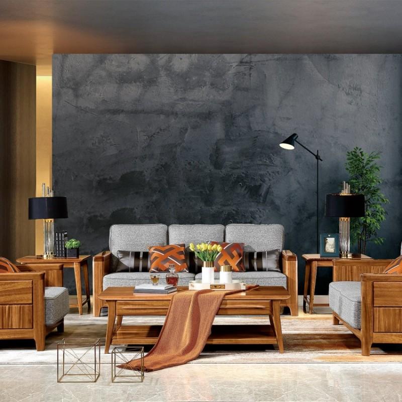 新桂铭悦池现代实木家具客厅YCB06沙发 +YCB03茶几+YCB02方几