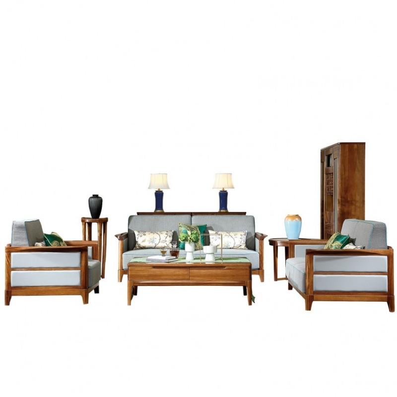 新桂铭悦池现代实木家具客厅YCB07沙发+YCB05茶几+YCB01方几+YCE02花架