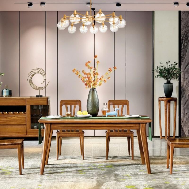 新桂铭悦池现代实木家具YCC02餐桌 +YCC01餐边柜 +YCC05餐椅