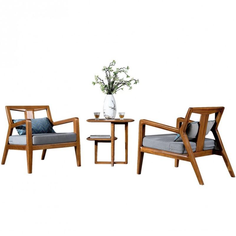 新桂铭悦池现代实木家具YCE02休闲椅组合+YCE01休闲茶几