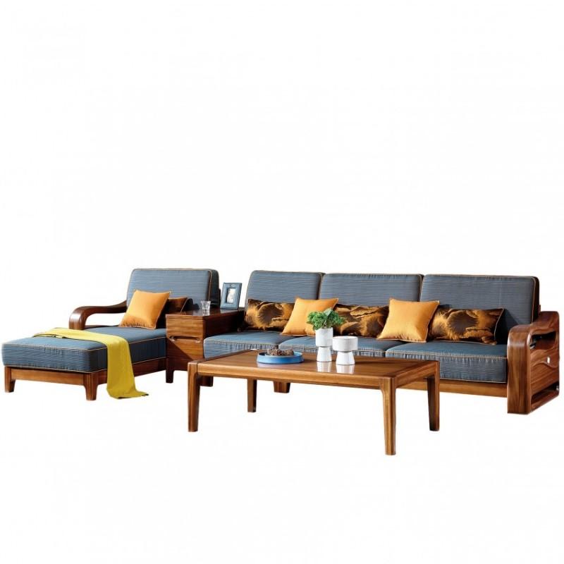 新桂铭悦池现代实木家具YCB10沙发组合+YCB04茶几