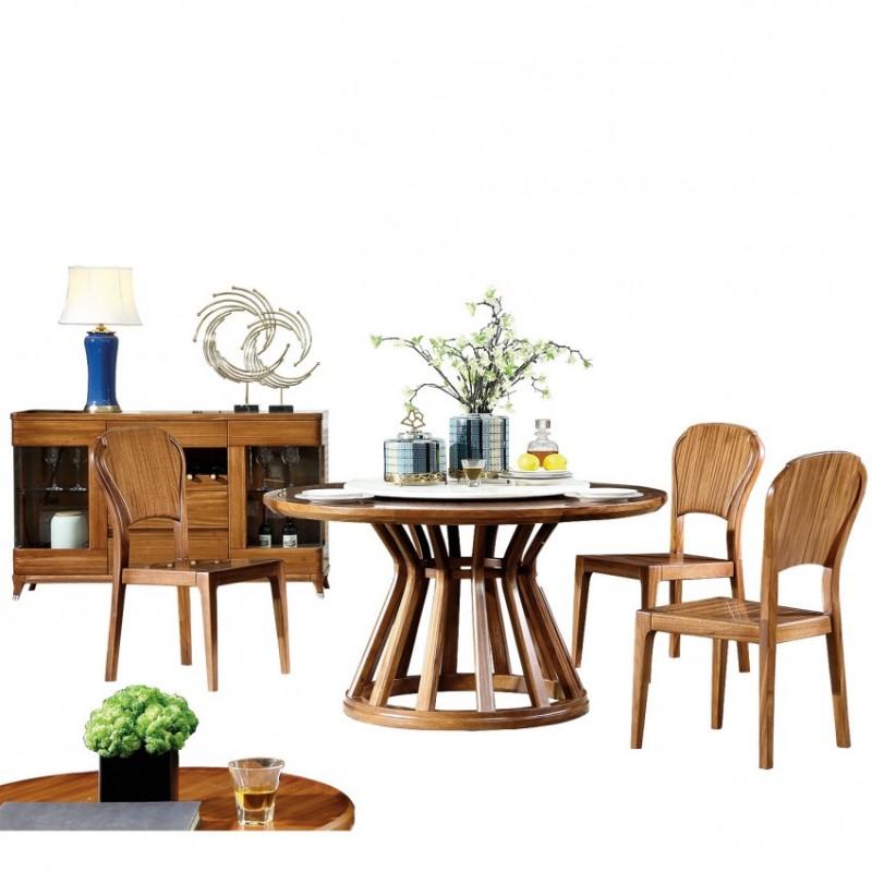 新桂铭悦池现代实木家具YCC06圆餐桌+YCC03餐椅