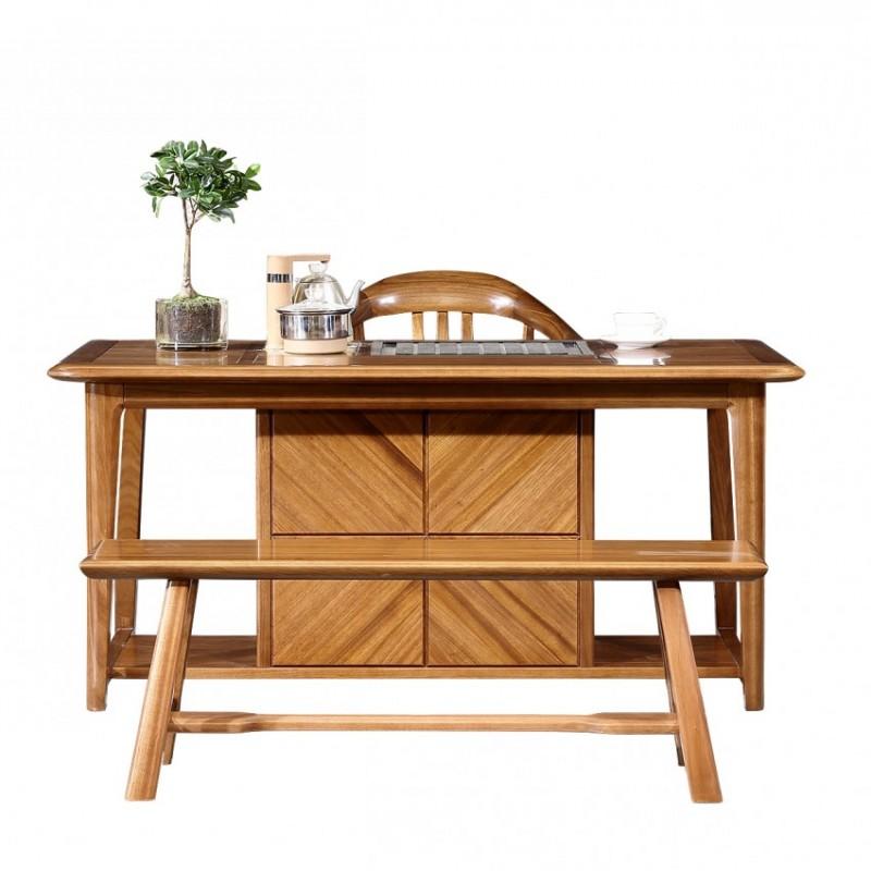 新桂铭悦池现代实木家具茶室YCE02茶台+YCE01茶椅+YCE01长茶凳