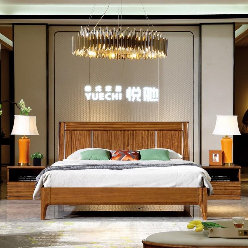 新桂铭悦池现代实木家具卧室YCA02床 实木大床