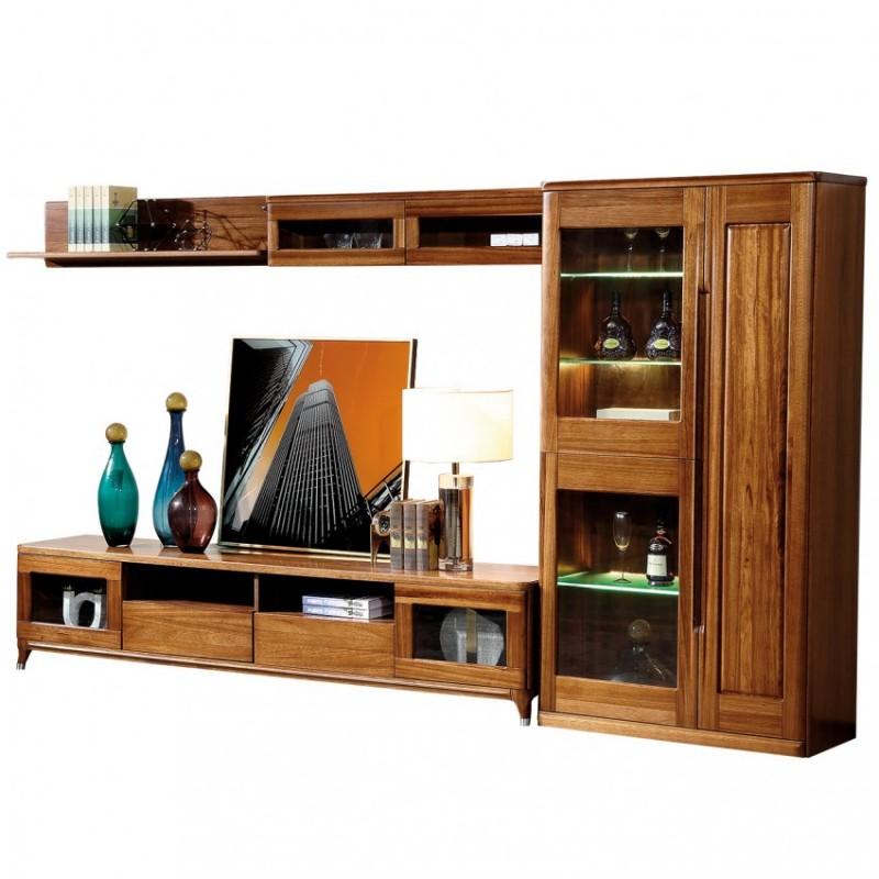 新桂铭悦池现代实木家具客厅YCB01组合门厅柜