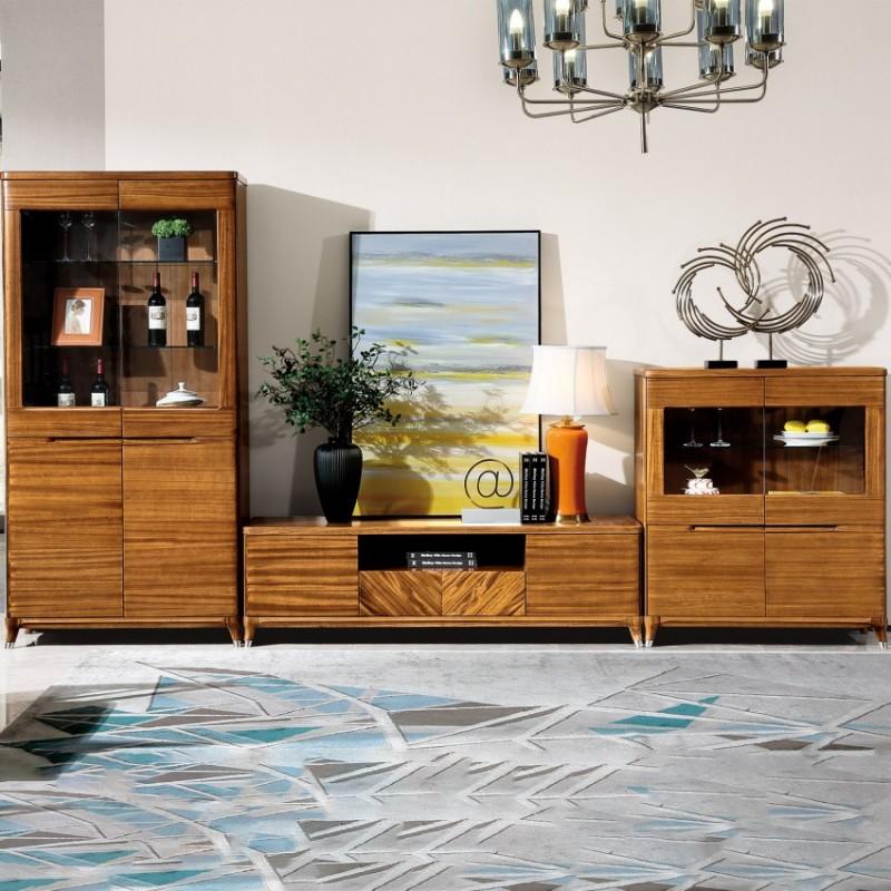 新桂铭悦池现代实木家具客厅YCB02组合厅柜