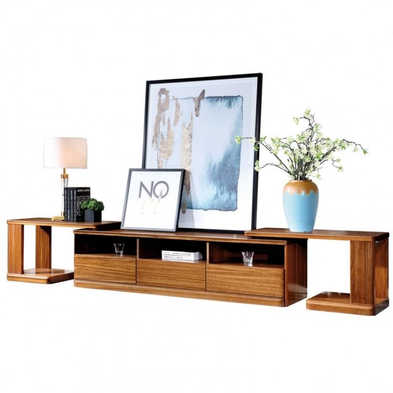 新桂铭悦池现代实木家具客厅YCB03伸缩电视柜