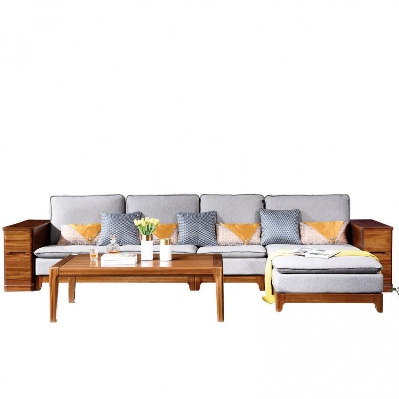 新桂铭悦池现代实木家具客厅YCB05沙发