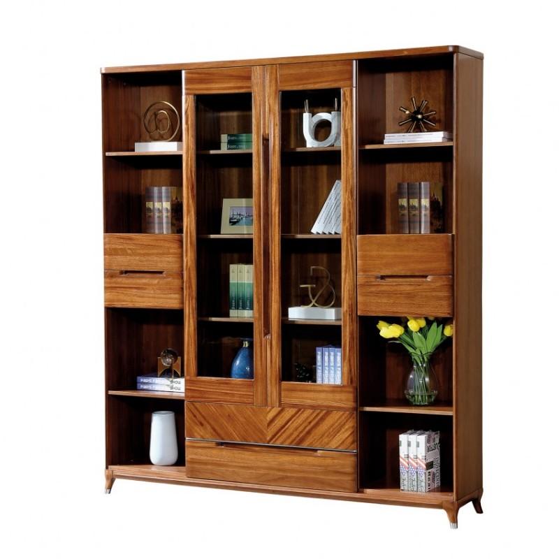 新桂铭悦池现代实木家具YCD03书柜+YCD03书桌