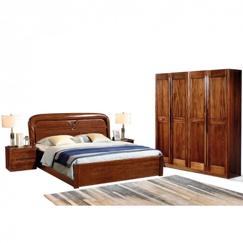 新桂铭知格实木家具卧房套实木大床ZGA02床+ZGA01四门衣柜+ZGA02床头柜