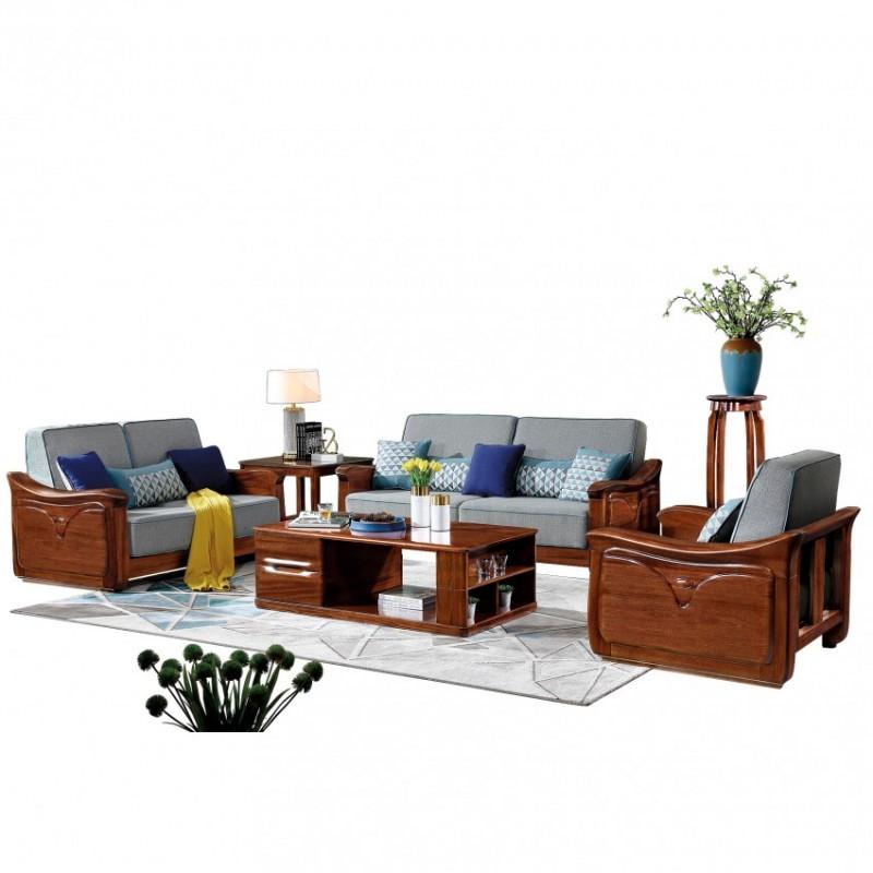 新桂铭知格实木家具客厅沙发组合ZGB01沙发+ZGB01茶几