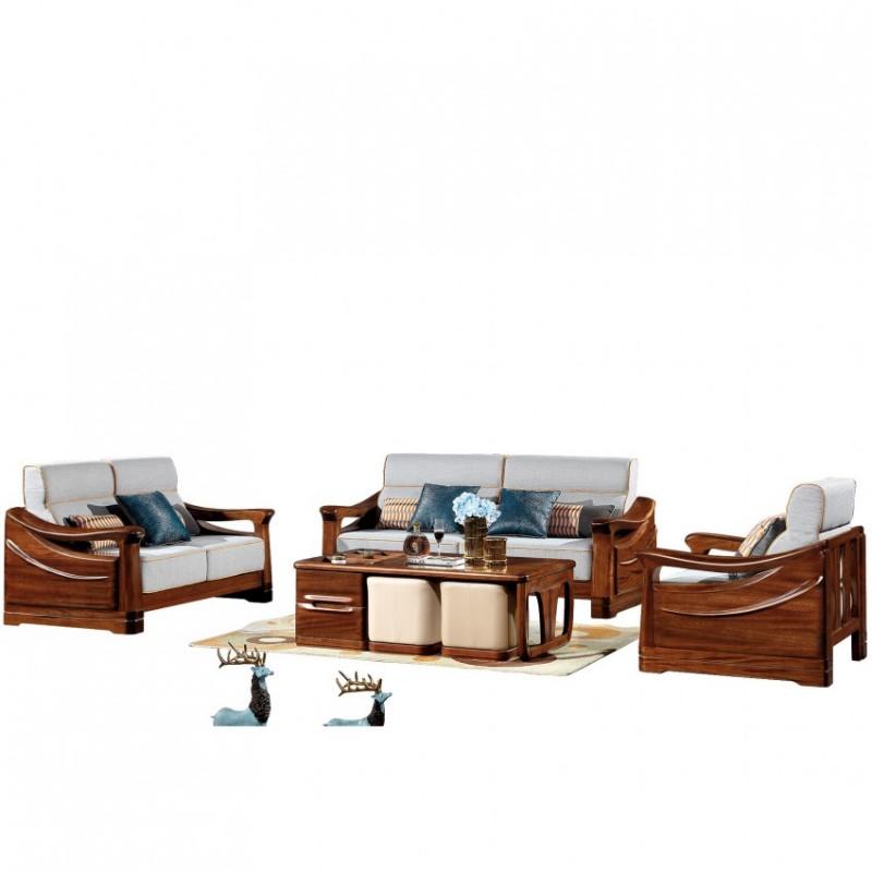 新桂铭知格实木家具客厅沙发组合ZGB03沙发