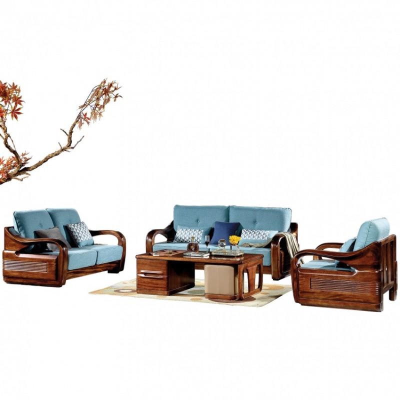 新桂铭知格实木家具客厅沙发组合ZGB04沙发