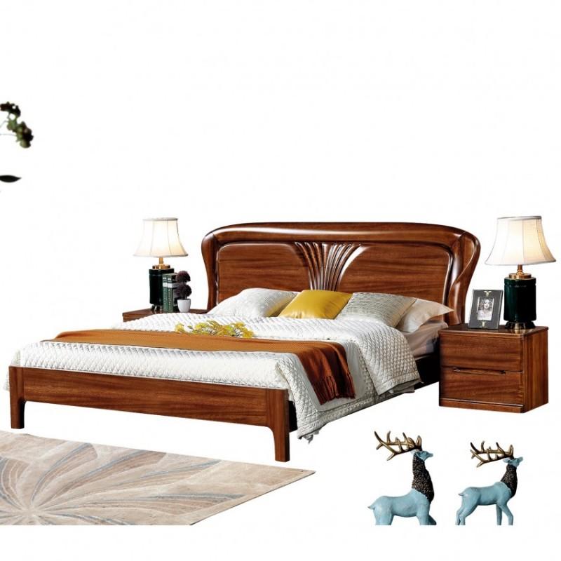 新桂铭知格实木家具卧室ZGA01实木床床头柜床尾凳
