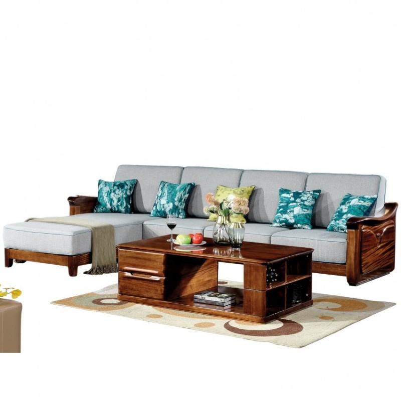 新桂铭知格实木家具ZGB02转角沙发+茶几+伸缩电视柜