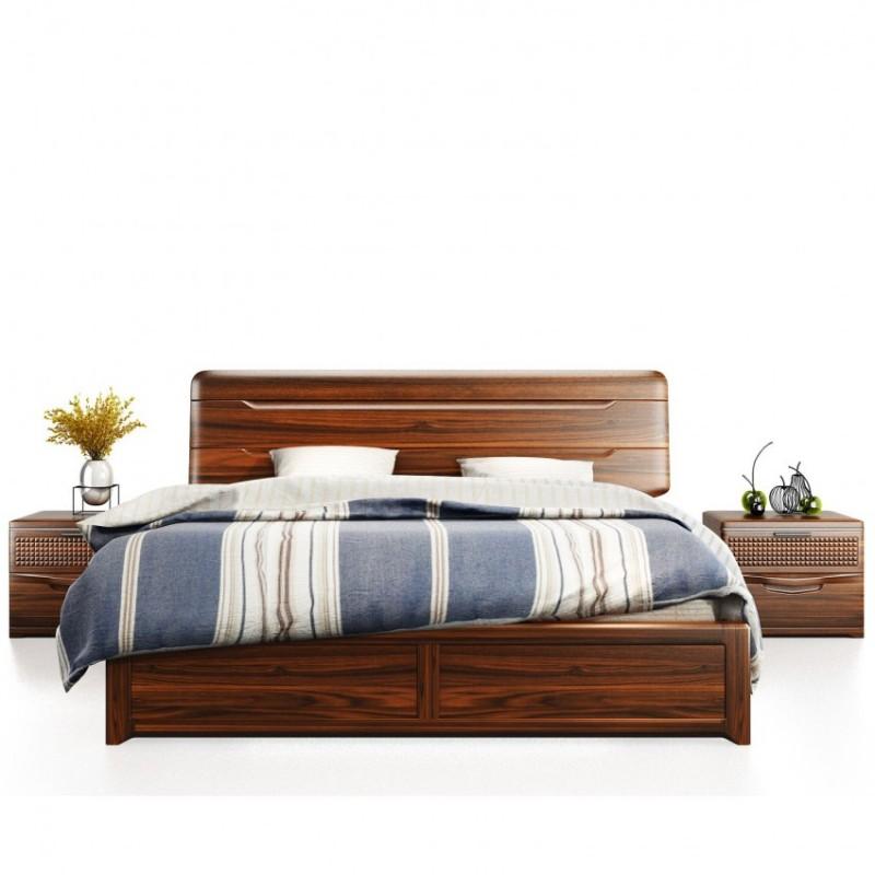 文森大赫实木家具卧室实木大床902+床头柜B902