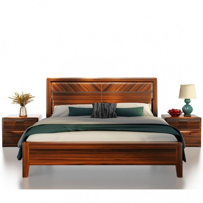 文森大赫实木家具卧室实木大床905+D905趟门衣柜
