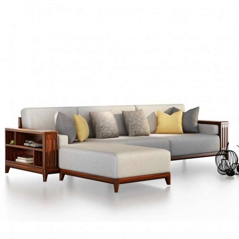 文森大赫实木家具S901转角沙发+P901长茶几+T901休闲几