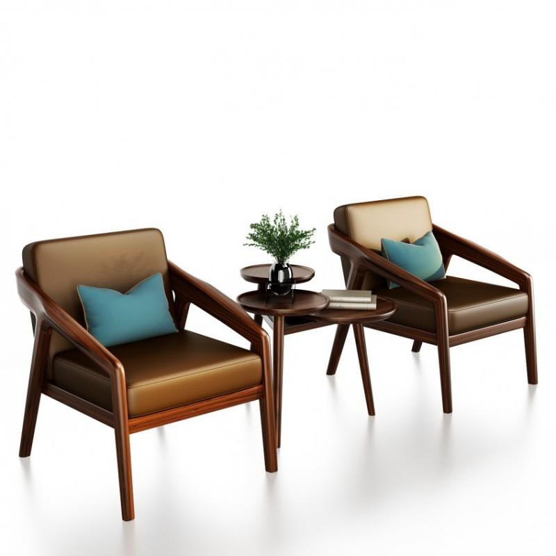 文森大赫实木家具客厅休闲椅组合