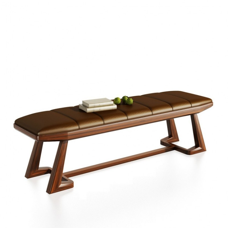文森大赫实木家具卧房床尾凳