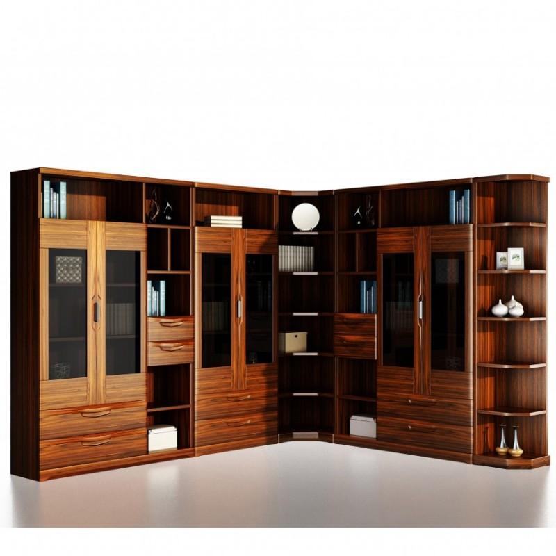 文森大赫实木家具书房转角书柜书柜组合
