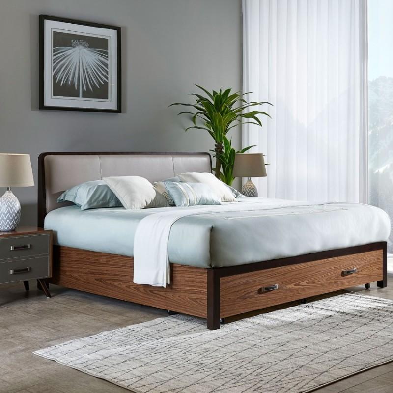 漾驰意式极简家具卧室实木大床床头柜梳妆台