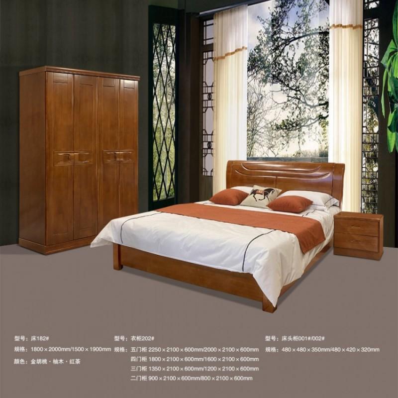 厂家直销实木双人床套房 床182# 衣柜202# 床头柜001#/002#