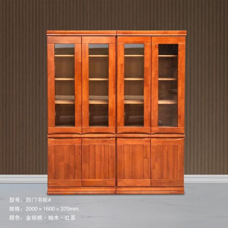 实木书柜玻璃门 四门书柜#