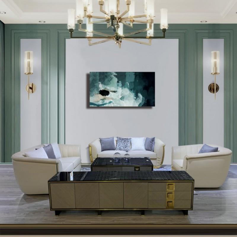客厅高端轻奢真皮组合