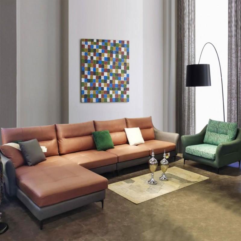 客厅转角皮布沙发休闲