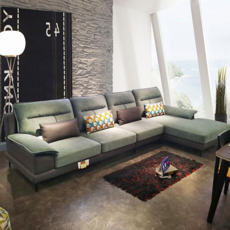 现代皮布转角沙发休闲