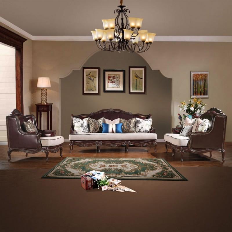 别墅美式奢华皮布沙发