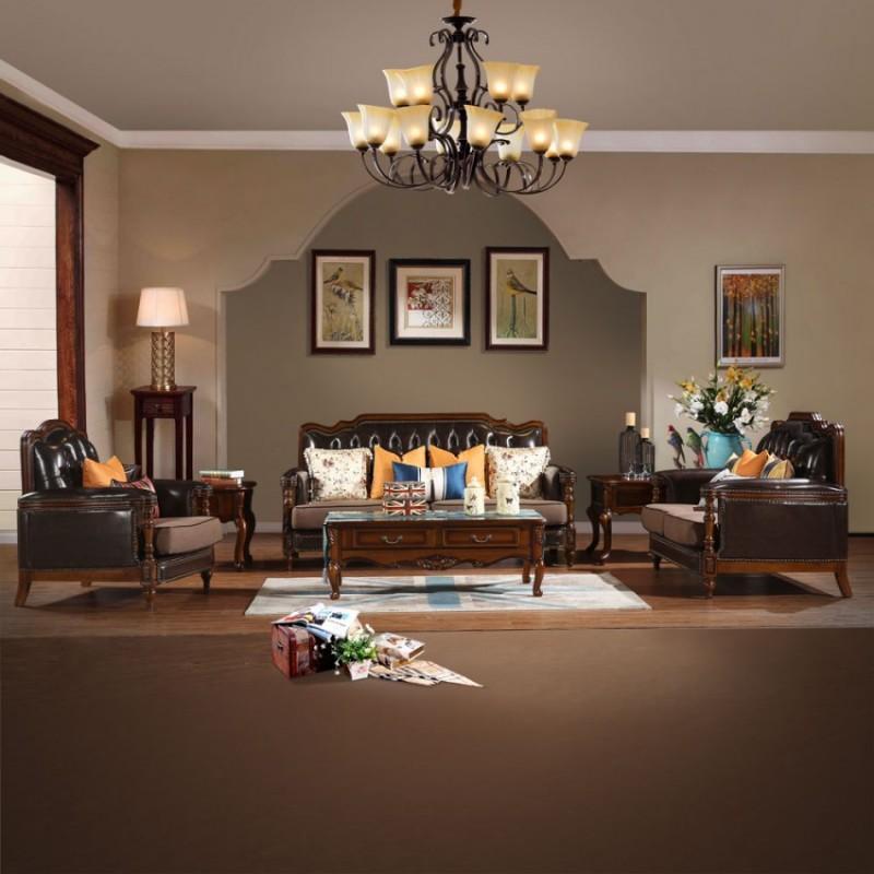 复古美式奢华皮布沙发