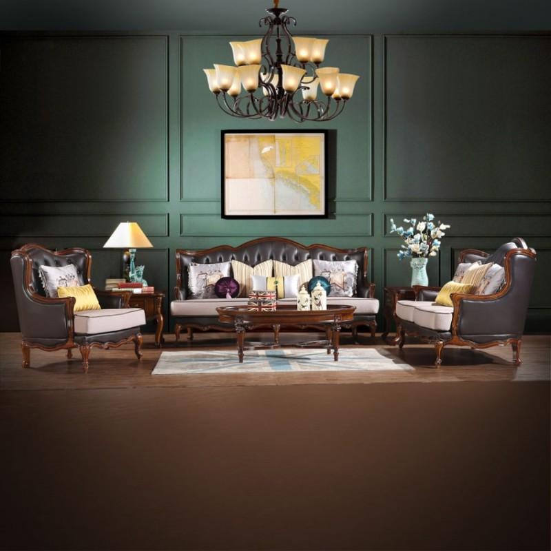 休闲美式皮布沙发客厅