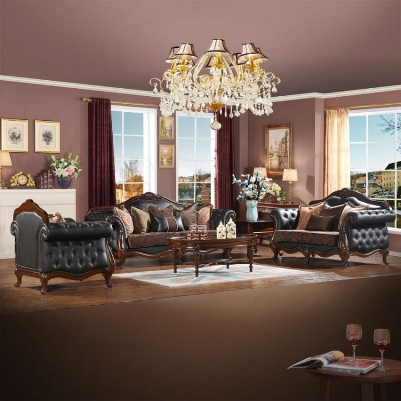 奢华美式皮布沙发组合