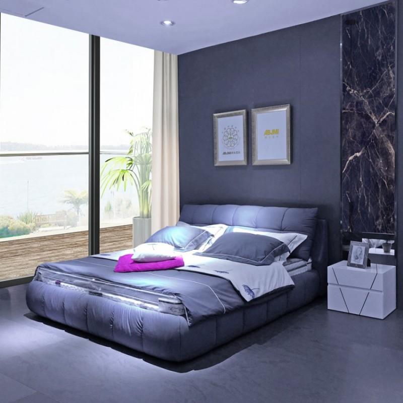 羽绒填充布艺床床头柜