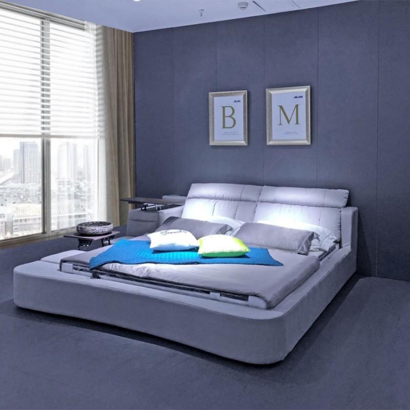 大户型卧室布艺双人床