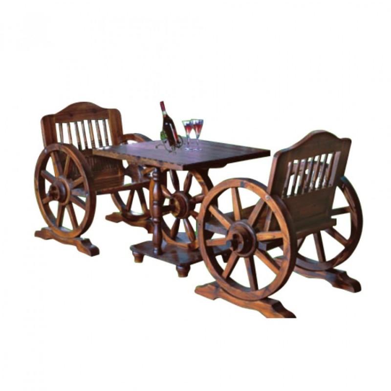 户外碳烧木创意车轮桌椅组合BLS-11单人车轮桌椅纯实木方桌茶台茶几拆装